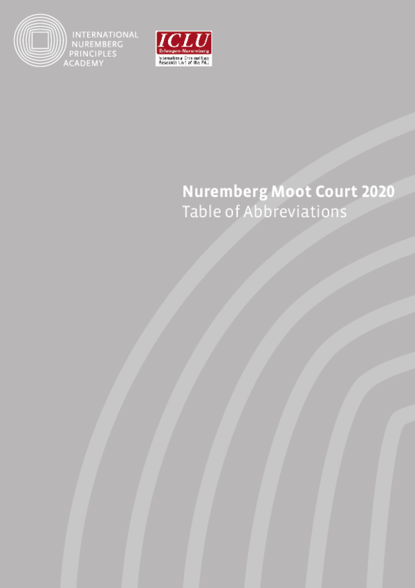 Table of Abbreviations Nuremberg Moot Court 2020
