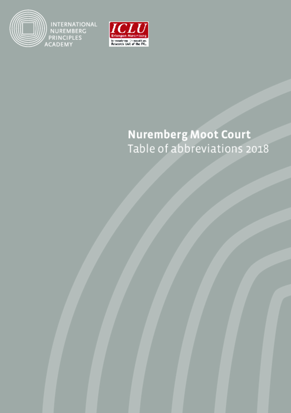 Table of Abbreviations Nuremberg Moot Court 2018